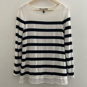 White House Black Market Striped Sequins Top Small